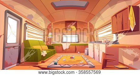 Old Dirty Interior Of Camper With Broken Furniture. Vector Cartoon Illustration Of Abandoned Camping