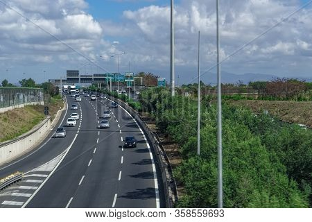 Rome, Italy - September 14 2017: Italian Highway Traffic Elevated Day View. Cars On Multi Lane Road