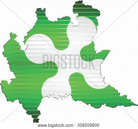 Shiny Grunge Map Of The Lombardy - Illustration,  Three Dimensional Map Of Lombardy