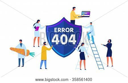 Error 404 Emblem And Cartoon People Characters Different Profession In Uniform And Informal Clothes.