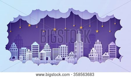 Night City Landscape In Papercut Style. Violet And Blue Gradient Cloud Paper Cut Office, Residential