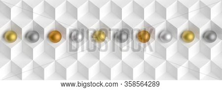 Modern Cube and Sphere Wallpaper. Panoramic Minimal Background. 3d Illustration