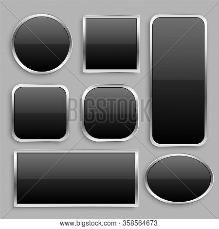 Set Of Black Glossy Button With Silver Frame Design Vector Illustration.