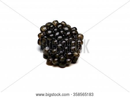 Black Sturgeon Caviar On A White Background.