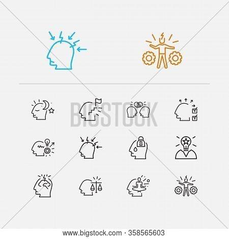 Anatomy Icons Set. Hardworking And Anatomy Icons With Emotionally Blocked, Genius And Balance. Set O