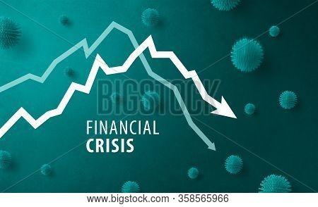 Descending Graph, Danger, Crisis, Impact And Corona Virus Concept.