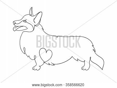 Welsh Corgi-cardigan. Corgi. Vector Illustrations Drawn By Hand. Original Linear Image Of A Dog With