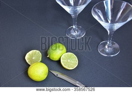 Two Empty Glasses For Making Margarita Cocktails With Lime On A Black Background Margarita Cocktails