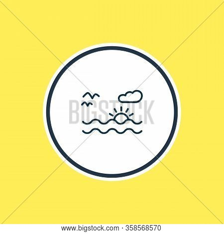Vector Illustration Of Sunset In The Sea Icon Line. Beautiful Naval Element Also Can Be Used As Land