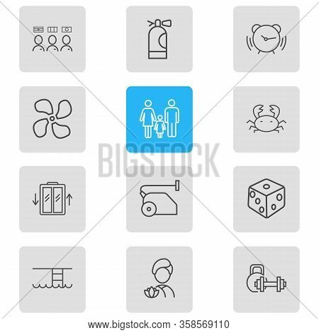 Vector Illustration Of 12 Vacation Icons Line Style. Editable Set Of Fan, Fire Extinguisher, Multili