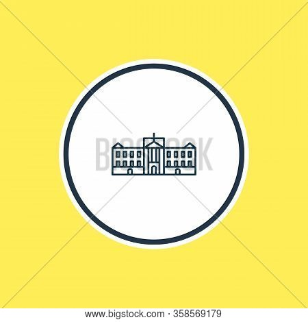 Vector Illustration Of Buckingham Palace Icon Line. Beautiful World Landmarks Element Also Can Be Us