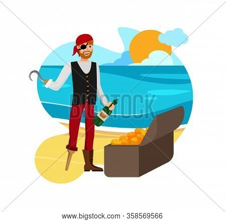 Smiling Buccaneer Found Loot Vector Illustration. Man In Eyepatch And Bandana Cartoon Character. Fli