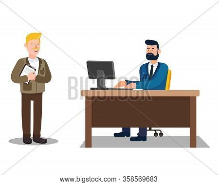 Job Interview. Man Works At Office. Vector Illustration. Office Worker. Sit At Table. Look At Monito