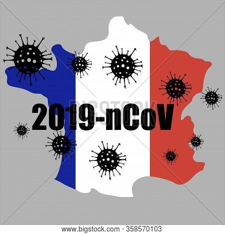 Coronavirus Outbreak In France. Covid-19 Virus Quarantine Concept Image. Coronavirus Disease 2020 Si
