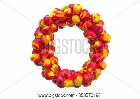 Letter O From Nectarines Or Peaches, 3d Rendering Isolated On  White Background