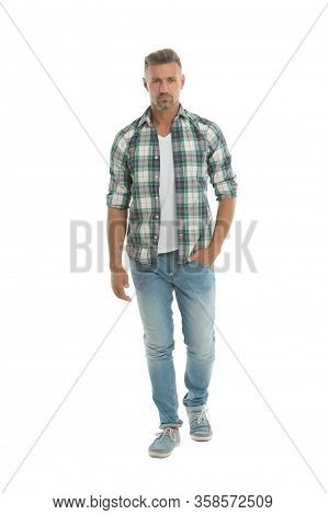 Confident In Himself. Confident Man Isolated On White. Confident Look Of Fashion Man. Casual Fashion