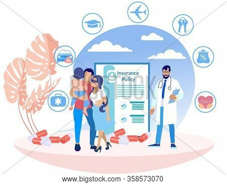 Married Couple And Doctor In White Coat On Insurance Policy Background. Insurance Policy. Vector Ill