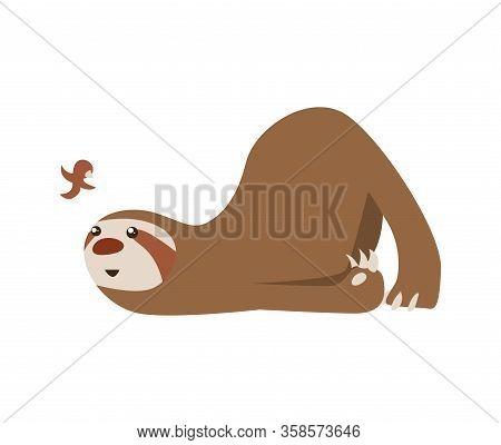 Cute Baby Sloth Lies And Looks At The Bird. Adorable Cartoon Animal. Funny Cartoon Sloth Sleeping Wi