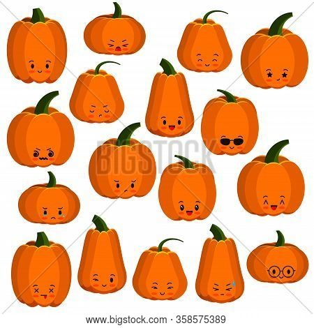 Pumpkin Faces Emoji Icons Set Isolated On White. Thanksgiving, Halloween Emoticon Character Collecti