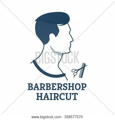 Banner Barbershop Haircut Scissors For Young Man. Salon Specializes In Mens Haircuts, Hairstyles And