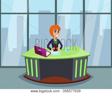 Cartoon Broadcasting Woman Character Tv Breaking News Presenter. Female Reporter Sitting At Desk Wit