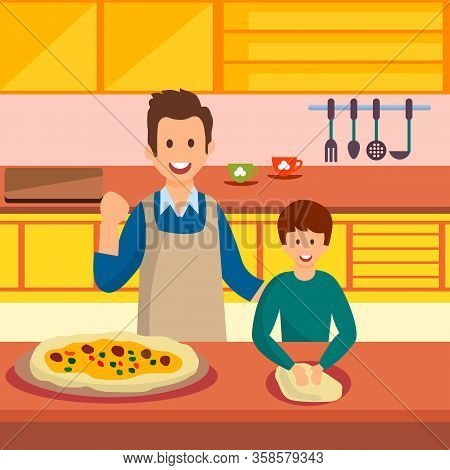 Father And Son Cooking Pizza Vector Illustration. Parent Teaching Child To Knead Dough. Cooked Homem