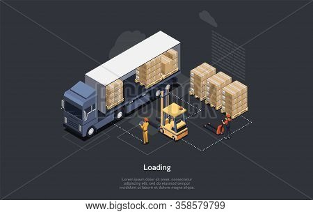Isometric Warehouse Work Process Concept. On Time Delivery Home And Office. Delivery Truck, Forklift