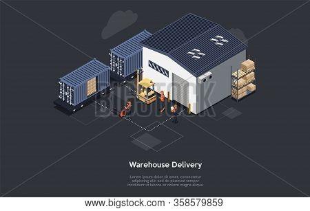 Isometric Warehouse Railway Delivery Concept. On Time Delivery Home And Office. Delivery Train, Work