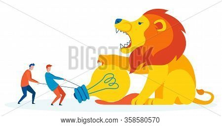 Fighting Fear Metaphor Flat Vector Illustration. Two Friends Pulling Lightbulb From Lion Paws Cartoo