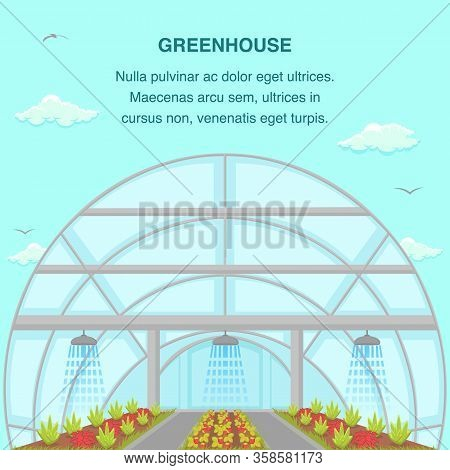 Greenhouse Aquaponics System Social Media Banner. Eco Friendly Gardening Poster With Copyspace. Auto