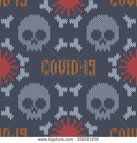 Covid-19 Seamless Knitted Woolen Pattern. Corona Virus Disease 2019