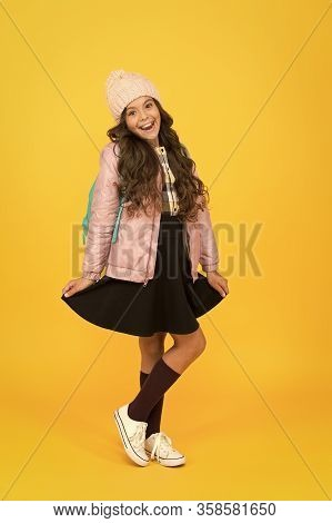Stylish For Extra Seasonal Warmth. Stylish Girl Back To School. Little Child In Stylish Autumn Wear