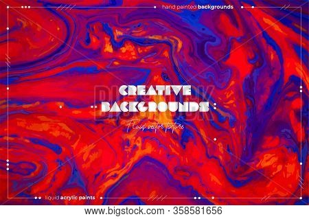 Fluid Art Texture. Abstract Vector Background With Mixing Paint Effect. Liquid Acrylic Picture With