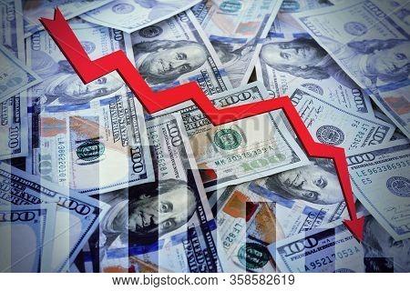 Money And Chart. Coronavirus Impact On Global Financial Crisis