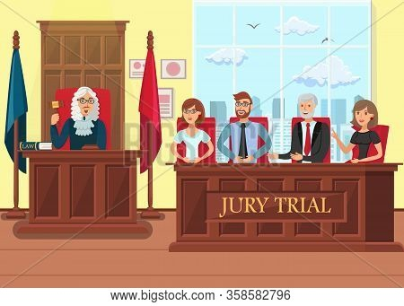 Jury Trial In Process Flat Vector Illustration. Jurors And Judge Cartoon Characters. Litigation Cour