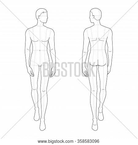 Fashion Template Of Walking Men. 9 Head Size For Technical Drawing With And Without Main Lines. Gent