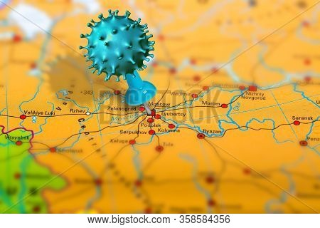 Covid-19 Outbreak Or New Coronavirus, 2019-ncov, Virus Pin In Moscow On Map Of Russia. Covid 19-ncp