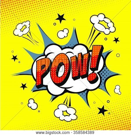 Comic book POW! Yellow background.. Format eps.