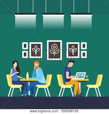 Permanent Tenants Coworking Vector Illustration. All Workplaces And Closed Offices Are Equipped With