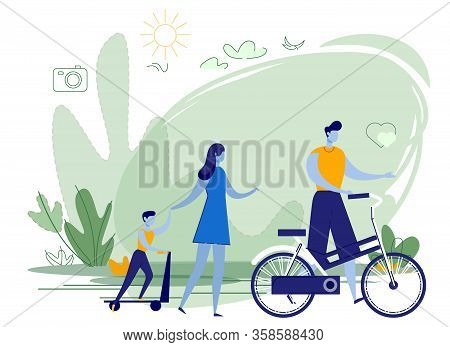 Photo Active Young Family On Outdoor Activities. Man, Dad Holding Bicycle. Woman, Mother Leads Son B