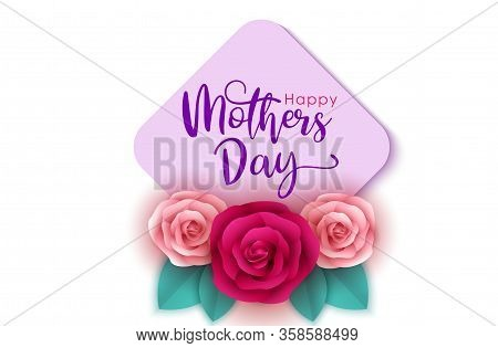 Greeting for mother day, mother day background, Mothers Day Card, Blank card for spring, Easter, or Mothers Day with pink rose,  Mothers Day vector for website, sign, mobile, app, UI. mom design