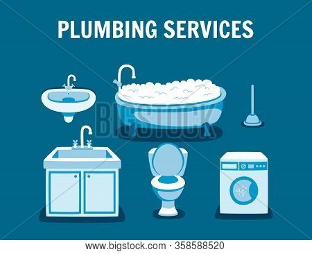 Plumbing Services Banner. Toilet Bowl Cleaning Leaking Tap Bathroom Sink Repair Washing Machine Fixi