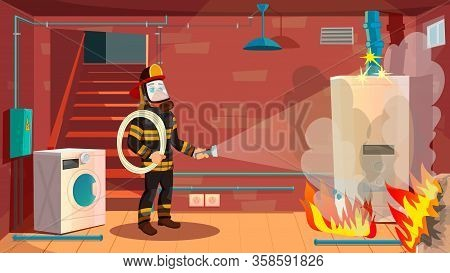 Laundry Room In Basement On Fire. Professional Firefighter, Wearing Protective Clothing And Mask, In
