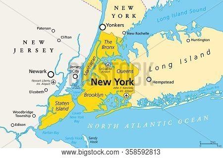 New York City, Political Map. Most Populous City In The United States, Located In The State Of New Y