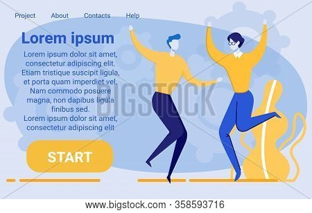 People Group, Colleagues Or Coworkers Jumping And Cheering Happily Together. Corporate Staff Or Offi