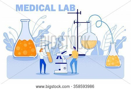 Scientists Invent New Medication In Medical Lab. Vector Girl Holds Test Tube With Reagents. Guy Stan