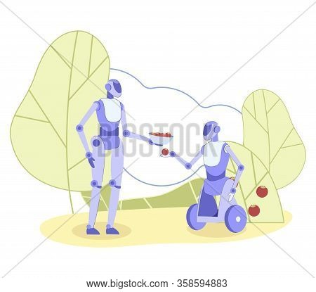 Anthropomorphic Robot, Offering Plate, Full Red Ripe Fruits To Wheeled One. Automated Harvesting Far