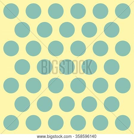 Easter Pattern Polka Dots. Template Background In Green And Yellow Polka Dots. Seamless Fabric Textu