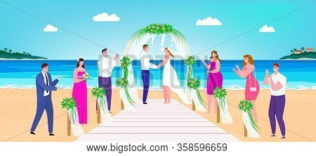 Wedding Beach Ceremony Vector Illustration. Cartoon Happy Man Woman Couple Characters Getting Marrie