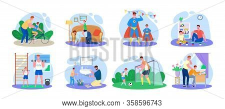 Family Time, Father And Son Vector Illustration. Cartoon Happy Man Parent Characters With Child Have